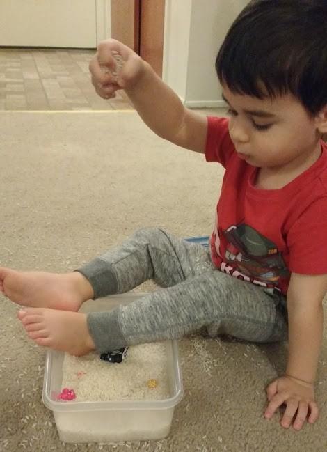 rice bin sensory play